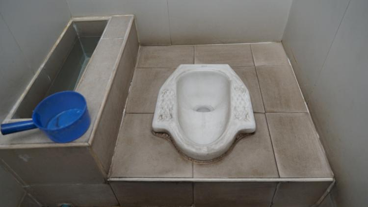 Squat Toilet!  Asian do have a strong hamstring!